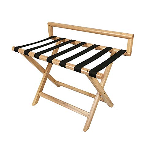 Vobajf Luggage Rack Hotel Guest Room Luggage Rack Solid Wood Hotel Luggage Rack Bedroom Hanger Folding Rack Luggage Rack Suitcase Stand (Color : Wood, Size : 80x45x64cm)