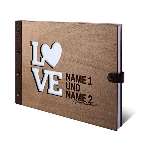 Gastenboek Okoume houten gravure individuele houten kaft met echt lederen rug 72 vellen | 144 pagina's A4 liggend 302x215 mm - Love Holzcover Buch quer (302 x 215 mm)