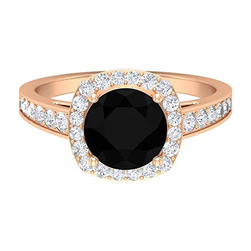 Anillo solitario de diamante negro de 8 mm, anillo de diamante HI-SI, anillo de compromiso de corte redondo, anillo solitario con piedras laterales, oro de 14 quilates