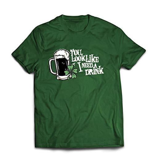 lepni.me Camisetas Hombre Pareces Que Necesito una Bebida, los Refranes del día de San Patricio (X-Large Verde Oscuro Multicolor)