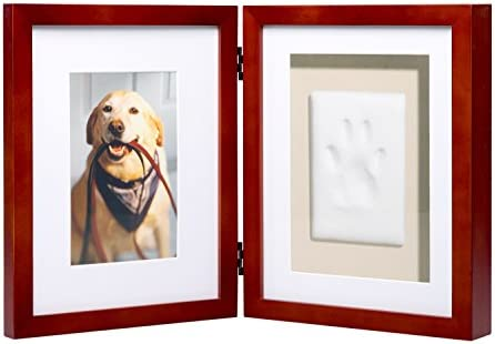 Pearhead Dog or Cat Paw Print Pet Keepsake Photo Frame With Clay Imprint Kit, Perfect Keepsake Frame for Pet Lovers 21406 Espresso