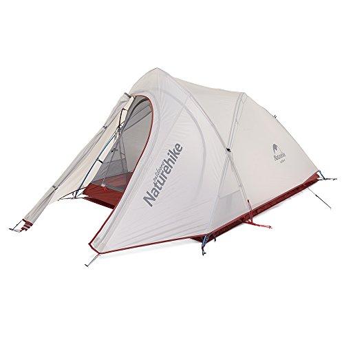 Naturehike Cirrus Ultralight 20D, Tenda da Campeggio in Silicone per 2 Persone Tenda (Grigio & Rosso)