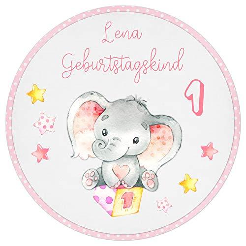 Tortenaufleger Tortenbild Kindergeburtstag rosa Babyelefant Sterne Mädchen Wunschtext Foto essbar Ø 20cm 290