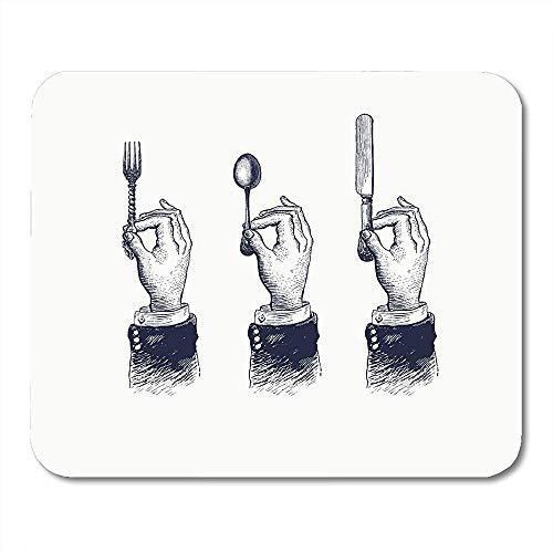 Muis Pads Voedsel Handen Bestek Lepel Vork en Mes Vintage Tekening in Retro Houtsnede Plate Mouse pad 25X30cm