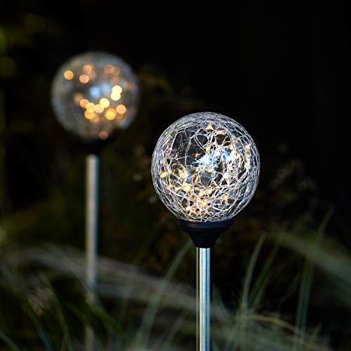 Lights4fun 2er Set LED Solarleuchten warmweiß Solar Glaskugeln Gartenleuchten