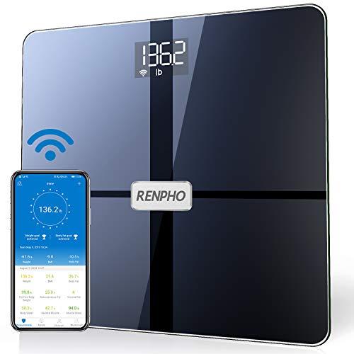 RENPHO WLAN-Smart-Waage Bluetooth Körperfettwaage, Personenwaage mit Körperfett und Muskelmasse, Wireless Körperanalysewaage & Überwacht 13 Körperwerte für Ihre Gesundheit