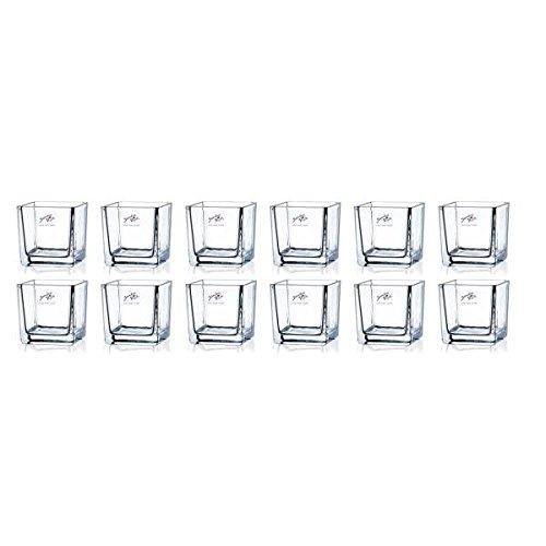 Sandra Rich 12er Set Teelichtgläser, Windlichter Cube H. 8cm 8x8cm Glas eckig