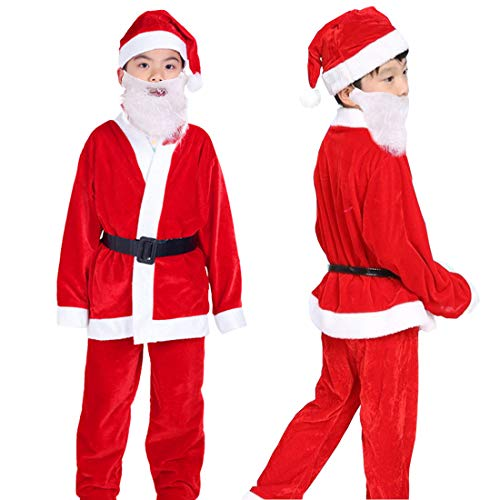 Boys Santa Costume Child Santa Suit Velvet Santa Claus Costume for Boys Christmas Costume 5PCS Fancy Party Suit for Boys 9-13 Years