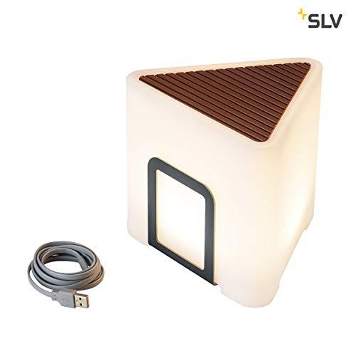 SLV LED Akku-Tischleuchte KENGA Outdoor dimmbare Akkuleuchte USB-wiederaufladbar, mobile Außen-Tischlampe, für Garten und Terrasse, Tischbeleuchtung, 3.000 Kelvin warmweiss, 200 lumen