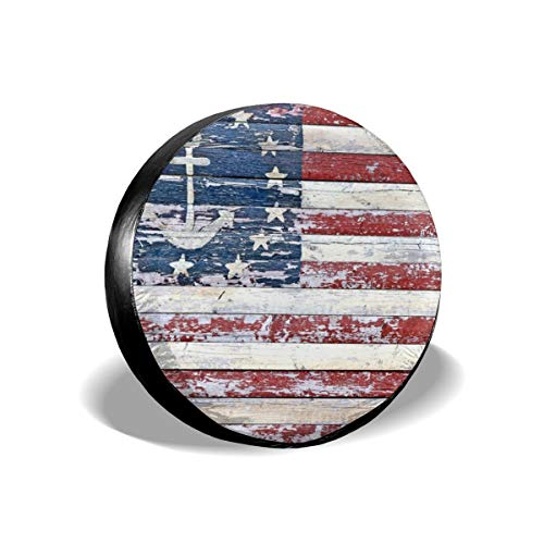 Ouqiuwa Spare Tire Cover American Flag Anchor Wooden Vintage Universal Wheel Covers for Jeep Trailer RV SUV 17 Inch for Diameter 31-33 Inch