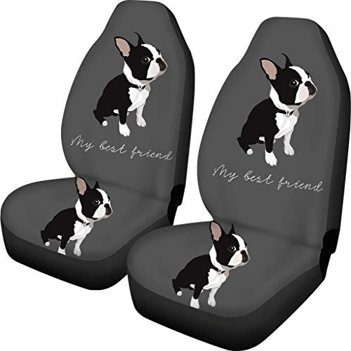 FKELYI Car Seat Cover Funny Boston Terrier Pugs Pattern Automatic Seat Protector fit Most Car SUV Truck Van
