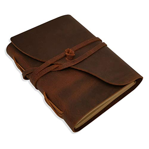 Lined Leather Journal - Handmade Leather Bound Notebook for Men & Women Ruled Kraft Paper, 120 Sheets, 5x7 Inches, Brown