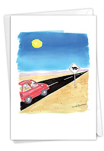 NobleWorks, Desert Sign - Greeting Card for Birthdays (with Envelope) - Vacation, Road Trip Bday Notecard for Travelers - Funny B-day Gift C7295BDG