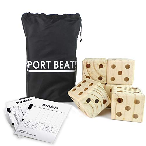 SPORT BEATS Giant Wooden Yard Dice Set of 6 with Yardzee and Yardkle Rules for Yard Outdoor Games Includes Carry Bag Choose Your Set