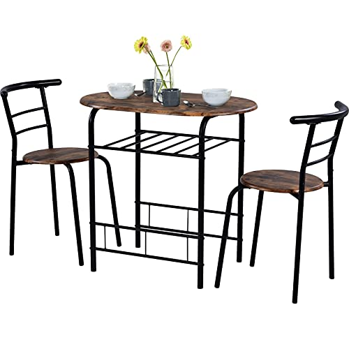 Ironhorse Juego de mesa y silla de comedor de 3 piezas, cocina con respaldo alto, estante de almacenamiento de rejilla, marco de metal, juego de habitación de diseño cuadrado negro