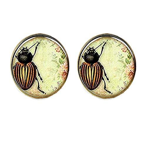 Pendientes de insecto para amistad, diseño de escarabajo vintage
