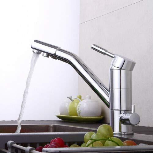Anciun Grifo de cocina de 3 vías, grifo de 3 vías, osmosis, giratorio, para fregadero de cocina, incluye regulador de frío y caliente