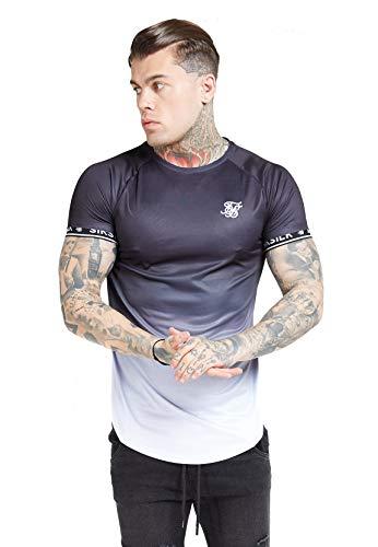 Sik Silk de los Hombres Camiseta de Gimnasia con Cinta de Dobladillo Recto ragl/án Blanco