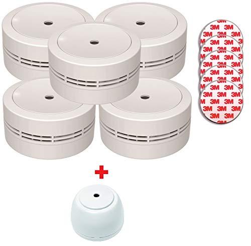 Jeising Mini Rauchmelder GS535 5er Set weiß + Magnetbefestigung + GS158; 10 Jahres Lithium Batterie - VDs geprüft EN14604 Komfort Funktionsprüfung mit Stummschaltung + kostenlosem Wassermelder GS158