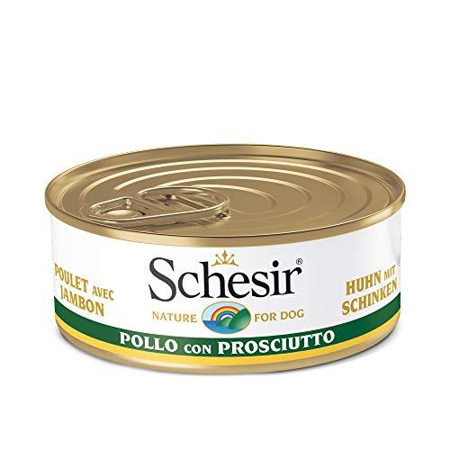 Schesir, Comida húmeda para Perros Adultos, Sabor Pollo con jamón en gelatina Blanda - Total 2,7 kg (18 latas x 150 gr)