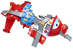 """Jett's Takeoff Tower 2-in-1 toy playset transforms from 12"""" long Jett plane to over 23"""" long airport playset. Inside is an airport full of adventure just like the Super Wings show Large scale Jett playset with real working wheels – With nearly 14.5"""" ..."""