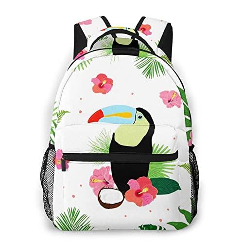 USGYY Rucksack Männer Damen Tukan Vogel Tropische Bananenpalme, Laptop Rucksäcke, Kinderrucksack Schulrucksack Daypack für Jungen Mädchen