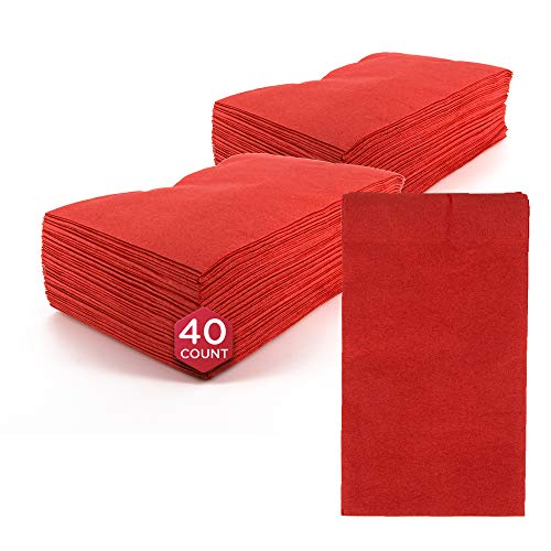 SparkSettings Big Party Pack Tableware 2 Ply Guest Towels Hand Napkins Paper Soft and Absorbent Decorative Hand Towels for Kitchen and Parties 40 Pieces Apple Red