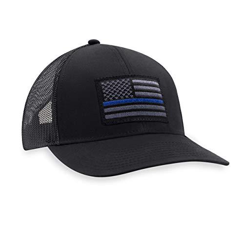 Thin Blue Line Hat – Blue Line Trucker Hat Baseball Cap Police Snapback Golf Hat (Black)