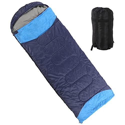 Sovpåse, vikbar oberoende blixtlås värme ner sovväska andas för resor(Navy blue)