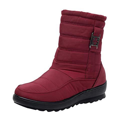 BaZhaHei Damen Mode Schneeschuhe Heißer winter Schneestiefe Weiblich Beiläufig Stiefelette Warme Schuhe Stiefel mittleren Alters Outdoor Stiefel Trekking Schuhe (41, rot)