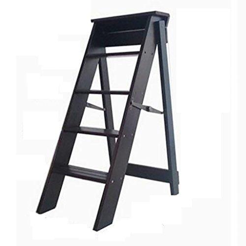 PENGFEI Pliable Stool Ladder Multifonction Usage Double 5 Étapes Bois Massif 3 Couleurs, 34 * 60 * 88CM (Couleur : Dark walnut)