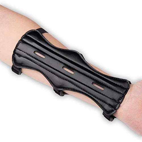 LOKHEIRA ARCHERY Archery Arm Guard, Leather Forearm Protector w/Bow Adjustable 3-Strap Buckles for Shooting Hunting Practice