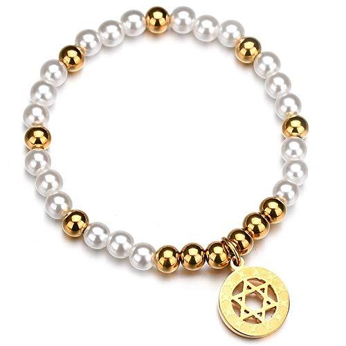 YITIANTIAN Pulseras de Cuentas de Oro con hexagrama Pulseras de fe geométricas con Estrella de David Hexagonal para Mujeres y Hombres Amuleto de Regalo Bijoux