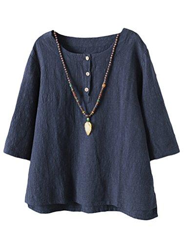 Vogstyle Damen Baumwoll Leinen Tunika T-Shirt Jacquard Oberseiten, Marine, XXL