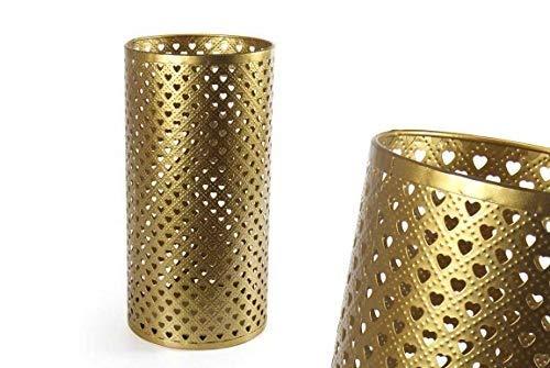 GICOS IMPORT EXPORT SRL Porta ombrelli in Metallo Oro Decoro Cuori Tondo Shabby Chic 24 * 24 * 48 cm portaombrelli IRO-794810