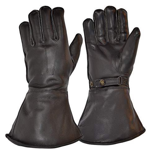 Goldtop Schwarz Leder Britischen Schafwolle Gefüttert Motorrad Versand Reiter Stulpen & Pilot Handschuhe