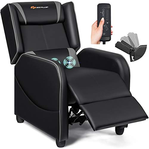 POWERSTONE Gaming Chair Recliner - Massage Gaming Chair Ergonomic Sofa with Footrest and Headrest and Side Pouch - Living Room PU Leather Recliners Home Theater Seating (Gray)