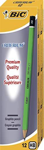 BIC Ecriture Criterium 550 Crayons à Papier - Mine Grasse Et Résistante - Couleur Grise, HB, Boîte de 12