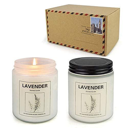 Double Gift Lavender, Home Scented Soy Candle Set, Lavender Aromatherapy Candle 2 pcs, Soy Wax Set, Women Gift with Strongly Fragrance Scent Oils Jar Candles