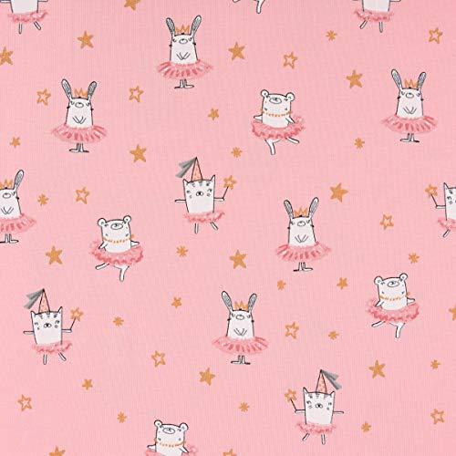 Mooi leven. Katoenen jersey beer haas ballerina roze wit met glitter sterren goud 1,5 m breedte