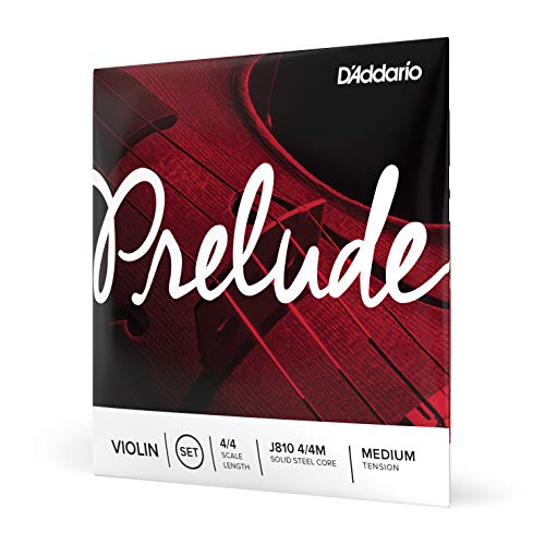 D'Addario Prelude Violin String Set, 4/4 Scale Medium Tension – Solid Steel Core, Warm Tone, Economical and Durable – Educator's Choice for Student Strings – Sealed Pouch to Prevent Corrosion, 1 Set
