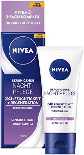 NIVEA Beruhigende Nachtpflege 24h Feuchtigkeit + Regeneration (50 ml), Gesichtscreme für sensible Haut, Nachtcreme mit Traubenkernöl und Süßholzextrakt