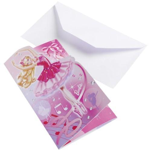 Amscan International - 6 Biglietti di invito con busta, motivo: scarpette, colore: rosa Barbie