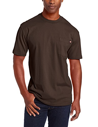 Dickie#039s Men#039s Short Sleeve Heavyweight Crew Neck Pocket TShirt Chocolate Large