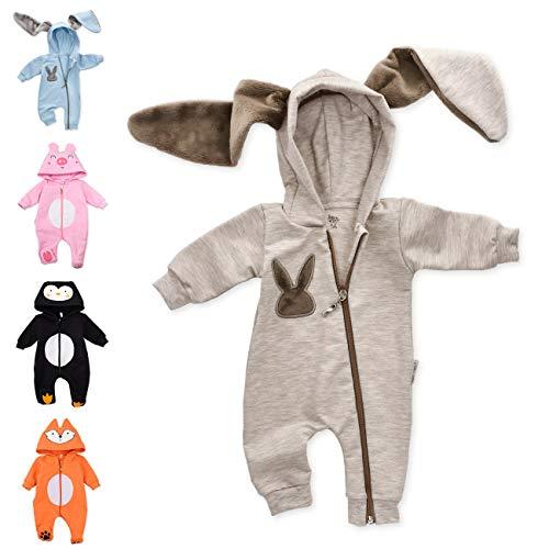 Baby Sweets Baby Tier Strampler Unisex braun im Motiv: Hase/Baby-Overall als Tierstrampler mit Kapuze für Neugeborene & Kleinkinder in der Größe 3-6 Monate (68)