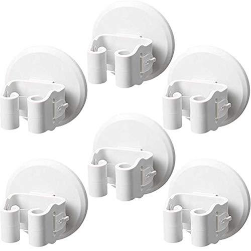 Ruiyoupin Premium gereedschaphouders, hoogwaardige bezemhouder, wandhouder, optimale opslag van huishoudelijke apparaten, tuingereedschap, wit, 6 stuks.