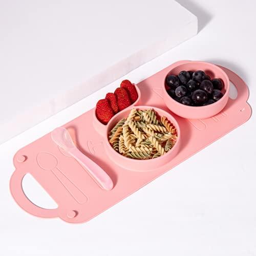 Placa de comedor integrada para niños, conjunto de vajillas de goma de silicona bebé, traje de piso de tazón de succión de silicona