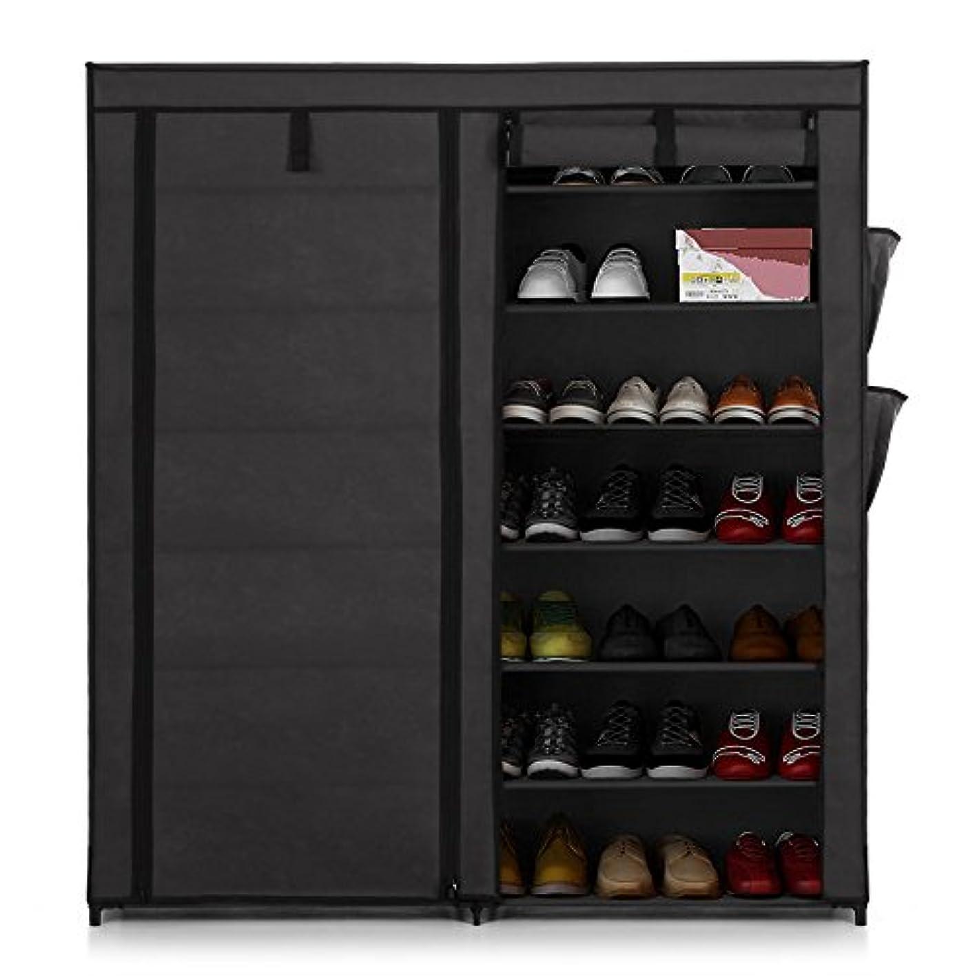 IKAYAA Portable 7 Tier Standing Fabric Shoes Rack Cabinet Shoe Storage Organizer Non Woven Zip Up (Grey)