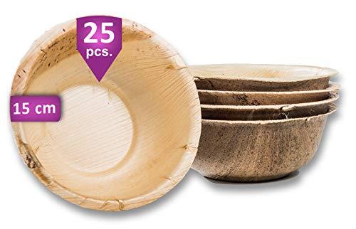 Waipur Hoja de Palma Cuencos Orgánicos – 25 Cuencos Desechables 15 cm/ 500 ml - Vajillas Desechables Premium, Estable, Natural y Compostable – Cuencos Madera – Bambu Bol Biodegradable