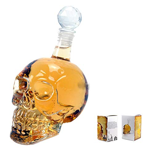 Decantador de Cristal de Calavera de Cristal, Decantadores de Vino Tinto, Adecuado para Vodka, Tequila de Ron EscocéS y Otros,500ml